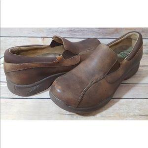Dansko Brown Burnished Leather Distressed Loafer